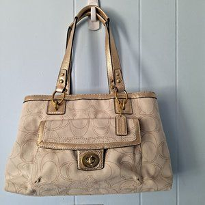 COACH Signature Tote Bag Purse With Dust Bag